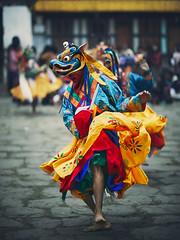 Bhutan: Gasa. Dance of the Rakshas. (icarium.imagery) Tags: bhutan canoneos5dmarkiv travel tshechu festival traditional maskdance danceoftherakshas masked canonef85mmf12lii captureone drukyul himalayas mahayanabuddhism traditionaldress gasa valley sundaylights