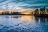 orange and blue fire and ice (john dusseault) Tags: ice winter sunset ontario canada trees facebook flickr gplus