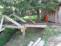 New 4x8 Beams. (Tramway Goats) Tags: bridge creekside replacement timbers beams rebuild project