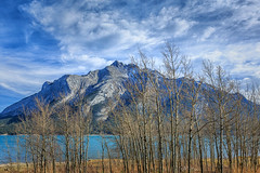 Mt Michener, Abraham Lake,  Banff National Park (aud.watson) Tags: canadianrockies albertasrockies banffnationalpark highway11 davidthompsonhighway northsaskatchewanriver abrahamlake mountain mountains valley valleys peaks cliffs glacialvalley lake water glaciallake forest wood tree trees conifers pine pines fir spruce bighorncountry sky cloud clouds landscape deciduoustrees mtmichener