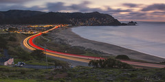 Three Curved Lines of Highway 1 (milton sun) Tags: highway1 stateroute1 sr1 lindamar sanmateocounty california cityscape longexposure dusk seascape bay ngc bayarea wave ocean shore seaside coast northerncalifornia westcoast pacificocean landscape outdoor clouds sky water rocks mountains rollinghills sea sand beach cliff nature architecture building evening sunset traffictrails meadows road path trees flowers spring field wildflowers grass