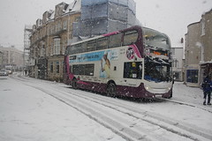 It's snowing again.... (lazy south's travels) Tags: teignmouth south devon england britain uk bus stagecoach english british enviro 400 scania hop2 route branding branded snow extreme weather wa13gdy 2018 storm blizzard