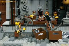 29_Endarmire_Iron_Mine (LegoMathijs) Tags: lego moc legomathijs steampunk mine miners mining rocks iron ore steampowered drones tracked driller flying discovery vehicle explorer speeder transporter transport airship clockwork drone speeders walking steamcopters pickaxe tools crates shaft cranes workshop gears cave docks