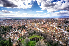 View of granada from alcazaba (Aaron_Choi) Tags: landscape alcazaba alhambra andalusia andalusian architecturaldetail architecture beauty capital citadel city cityscape destination espana europe european famous fort granada islamicarchitecture landmark nature palace peaceful roads scenic spain spanish street tourism town travel unesco unescoworldheritagesite vast view viewfromtop viewpoint village worldheritagesite