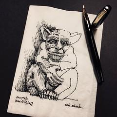 Napkin - Gargoyle No. 10 (schunky_monkey) Tags: illustration art penandink ink pen fountainpen drawing draw sketching napkinsketch napkin sketch stone architecture statue creature gargoyle