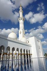 Sheikh Zayed Grand Mosque (geneward2) Tags: sheik zayed mosque abu dhabi islam religion worship white clouds reflection water minaret