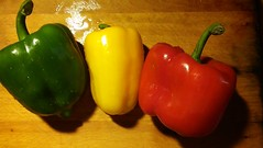 traffic light cooking (byronv2) Tags: pepper peppers cooking food colour colours red green yellow vegetable vegetables kitchen trafficlights