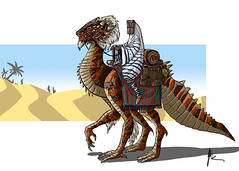 Desert Tiger Dragon (Johann Dakitsch) Tags: dragon fantasy illustration digital painting drawing character design creature photoshop wacom monster dragonrider nomad desert beduin