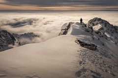 To the Horizon (peterlengyel) Tags: mountain range hill peak dramatic sky snowcapped alpenglow landscape sunrise ridge horizon moody adventure mountains winter snow background people over land idyllic clouds natural beauty outdoors scenic view from above curiosity inversion exploration explorer adult one person