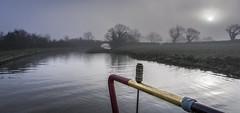 Misty morning at Nateby (chaotic river) Tags: lancastercanal narrow boat barge mist fog tiller
