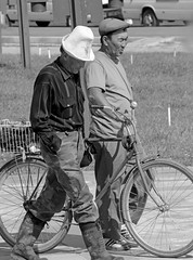 Two Men And A Bicycle (peterkelly) Tags: bw digital canon 6d kyrgyzstan asia bishkek men hat bike bicycle walking gadventures centralasiaadventurealmatytotashkent bell wheel spokes