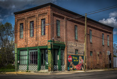 The Layman Drug Company (donnieking1811) Tags: tennessee nashville thelaymandrugcompany pharmacy recordingstudio architecture building mural cocacola guitar microphone illbringthecoke windows tile facade exterior outdoors sky clouds blue green hdr canon 60d lightroom photomatixpro