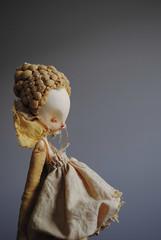 ovum mimic (cheekiebottoms) Tags: artdoll doll sculpture spore ochre yellow naturaldye surrealart popsurrealart popsurrealism