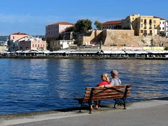 Enjoying the Chania harbour view IMG_0281 (mygreecetravelblog) Tags: greece crete greekisland greekislands island chania hania xania city town harbour seaside coast seafront water sea sky landscape outdoor