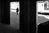 Behind the left door (pascalcolin1) Tags: paris13 femme woman portes doors voiture car lumière light shadows ombres pavés pavement péniche boat quay quaisdeseine photoderue streetview urbanarte noiretblanc blackandwithe photopascalcolin 50mm canon50mm canon