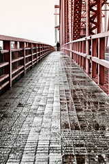 Alone (erichudson78) Tags: usa nyc newyorkcity queens rooseveltislandbridge canoneos5d canonef24105mmf4lisusm pont bridge silhouette eau water reflection reflets convergence alone passerelle footbridge avril april architecture metal