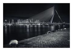 Rotterdam - Erasmusbrug IV (Passie13(Ines van Megen-Thijssen)) Tags: rotterdam erasmusbrug brug bridge bruecke netherlands city cityscape night nightscape monochrome monochrom monochroom canon sigma35mmart inesvanmegen inesvanmegenthijssen
