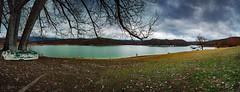 Lago Scandarello 02 (Promix The One) Tags: amatriceri lazio lagoscandarello lago alberi rami foglie cespugli monti riva acqua barca cielo nuvole tempesta prato fotopanoramica 11fotoverticali canon1dsmarkii tamronsp2470f28divcusd