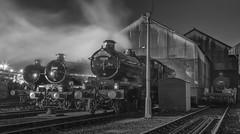 Tyseley Excellence - B/W Version (photofitzp) Tags: 5043 5080 7029 castleclass cluncastle collet defiant earlofmtedgcumbe gwr tyseley tyseleytmd nightphotography