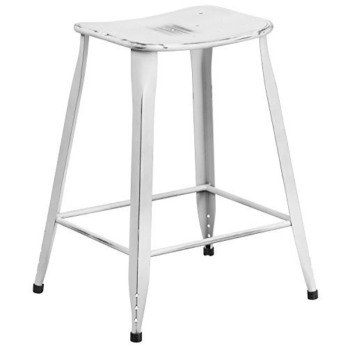 Flash Furniture High Metal Indoor-Outdoor Counter Height Stool, 24″, Distressed White