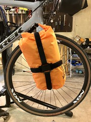 Trek 720 / Checkpoint Fork Rack Mount System (Doug Goodenough) Tags: bicycle bike pedals spokes touring bags fork mount mounted cage trek 720 checkpoint rack system 8l drybag 8 liter dry bag plastic velcro carbon fiber sl5 luggage bikepacking packing drg531 drg531p drg53118p april 2018 18