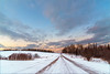 Country Road (Daniel000000) Tags: landscape nature road country rural sunset sky clouds wisconsin midwest nikon d750 dslr tree trees white snow gravel dirt new old blue orange light sun sunshine sunlight cold