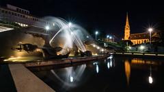 In Cook's honour (OzzRod) Tags: pentax k1 laowa12mmf28zerod night lights starbursts fountain jets spray movement bicentenary captcook church standrews newcastle australia