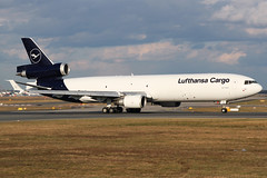 D-ALCB Lufthansa Cargo MD11F (twomphotos) Tags: plane spotting fra2 eddf lufthansa cargo md11 md11f boeing rwy18 sunset evening departure discoverthenew new livery black white bestofspotting