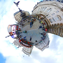 Piccadilly Circus (branestawm2002) Tags: london england tourist tourism square circus eros screen display coca cola anteros red bus steps 360 little tiny planet distorted wide angle sky tube underground west end