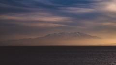 Depuis l'étang de Leucate, le Canigou s'endorme... #landscape #landscapephotography #sea #canigou #france #pyrenees #mountain #mountains #clouds  #mist #misty #gx80 #lumix #panasonic #lightroom (Lexlutin66) Tags: landscape landscapephotography sea canigou france pyrenees mountain mountains clouds mist misty gx80 lumix panasonic lightroom