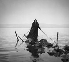 Rooted (Maren Klemp) Tags: fineartphotography fineartphotographer darkart darkartphotography blackandwhite monochrome conceptual portrait selfportrait water lake nature naturallight rope woman outdoors dreamy painterly