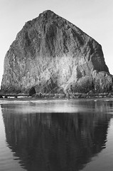 Godly (Caroline Kutchka Folger) Tags: oregoncoast ocean mirrored pacificocean beach pacificnw canonae1 cannonbeach haystackrock reflection analog 35mm ilford film blackandwhite