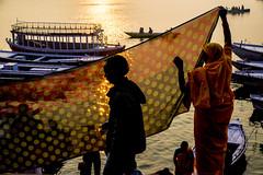 Morning at the Ghats-DSC_9340 (thomschphotography3) Tags: sunrise varanasi benares ganga ganges india asia river light water boats woman men pilgrims morning sunrays shilouette