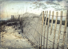 Fence at dawn (LanaScape Photos) Tags: approved fence fencefriday hff gulfshores alabama beach sand overlay texture