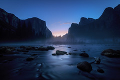 Morning in Yosemite (Brady Baker) Tags: yosemite california park sunrise merced river water motion dawn morning el capitan bluehour landscape calm mist misty blue mountain valley vista iconic tranquility tranquil nature outdoor rocks trees scenics