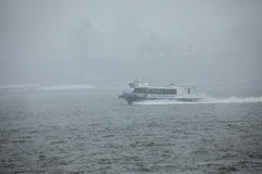 A New York Waterway ferry on the Hudson River during the nor'easter on March 21, 2018. (apardavila) Tags: hoboken hudsonriver newyorkwaterway ferry noreaster noreasterstorm snow snowstorm storm weather