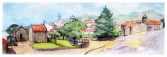 Belmonte - Portugal (guymoll) Tags: belmonte portugal croquis sketch village panoramic panoramique watercolour watercolor aquarelle