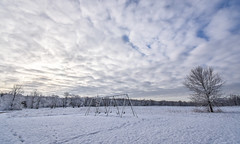Sometimes It Snows In April... (tim.perdue) Tags: sometimes snows april highbanks metro park columbus ohio snow spring landscape sky clouds trees meadow field blue white playground swings snowstorm weather nikon d7200 nikkor 1020mm wide angle swingset
