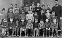 Class photo (theirhistory) Tags: children boys kids class form school teacher jacket coat trousers shoes jumper wellies rubberboots