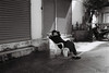 Relaxing (D. R. Hill Photography) Tags: bangkok thailand asia southeastasia street streetphotography blackandwhite monochrome analog film 35mmfilm 135 candid contax contaxg1 g1 carlzeissplanar35mmf2 planar 35mm primelens fixedfocallength kentmere400 ilford