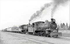 Iraq Railways - Iraqi State Railways steam locomotives Nr. 107 (Vulcan Foundry 2555 /1910) & Nr. 144 (Nasmyth Wilson 896 / 1909) - 20 March 1967 (HISTORICAL RAILWAY IMAGES) Tags: iraq railways isr steam locomotive العراق vf vulcanfoundry msmr india nasmythwilson ebr bengal 460 train 1967