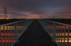 Power Lines & Turbines (Rob Pitt) Tags: m56 footbridge wind turbines helsby frodsham farm 750d light trails dusk 1018mm canon cheshire