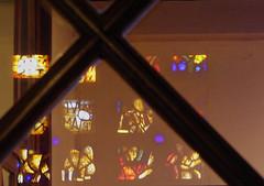 Le reflet des âmes - The reflection of souls (p.franche Visit(ez) mes expositions) Tags: panasonic lumix fz200 bruxellesbrussel brussels belgium belgique belgïe europe pfranche pascalfranche hdr dxo phototab flickrelite schaerbeek schaarbeek yourbestoftoday churchsintsuzanna eglisesaintesuzanne vitrail reflet croix cross x verre glass interior intérieur