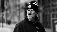 A long Way From Home ! (Neil. Moralee) Tags: neilmoralee neilmoraleenikond7200 man face beard hat motts nottingham forrest football goaty facial hair street candid fan supporter bristol neil moralee nikon d7200 black white mono monochrome bw bandw blackandwhite portrait mature old