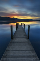 Stunning Sunset, Ashness Landing Pier, Derwentwater, Lake District (MelvinNicholsonPhotography) Tags: pier jetty ashness ashnesslandingpier derwentwater keswick lakedistrict cumbria longexposure nisi nisifilters sunset yellow orange red blue woodenjetty woodenpier
