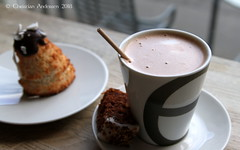 ... hot chocolate and a coconut top on a cold winter's day at Emmerys ... (ChristianofDenmark) Tags: christianofdenmark copenhagen denmark winter chocolate hot cold coconut top delicacy emmerys