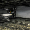 too good 2B true (MyArtistSoul) Tags: losangeles night parking structure concrete grunge processed monochrome yellow pole grid lines stains marks level2 bright light ceiling hiltonhotel urban square 1359 iphone7