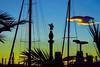 Barcelona sunset  ♪♫ (Fnikos) Tags: port porto puerto harbour harbor sky skyline cloud sunset boat sailboat tree palmtree monument sculpture statue colón colom colombo city building architecture outdoor