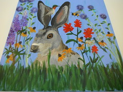 Easter Bunny .... (Mr. Happy Face - Peace :)) Tags: art artist unknown shc publicdomain art2018 drawing sketch painting pastels colors brush bunny rabbit jackrabbit 7dwf theme flora floral flowers