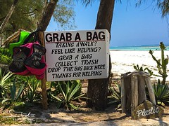 Our new 'Grab a Bag' initiative gives guests the option of taking a stroll with an old, recycled diving bag from our dive school for a spontaneous beach clean-up. The bag is then returned to the hotel and sorted by The Sands' Green Team. #greenrevolution (The Sands Kenya) Tags: africa kenya diani beach nomad